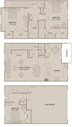 3 bed 2.5 Bath 1668 square feet floor plan C